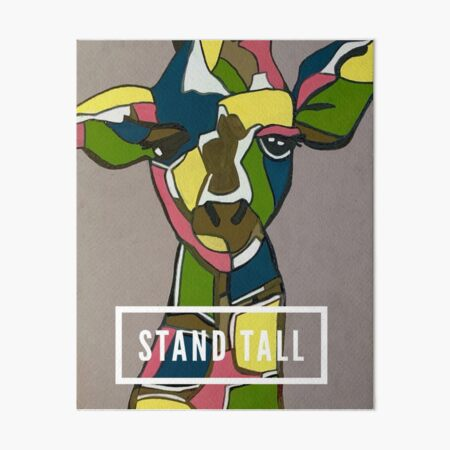 Stand Tall - Colorful Giraffe Painting by Christie Olstad Art Board Print