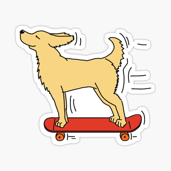Skateboarding Dog - White Sticker