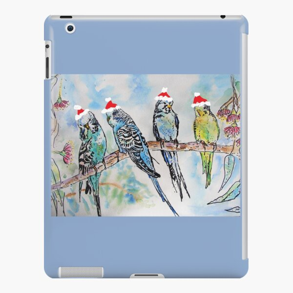 Christmas Budgies Budgerigars Sitting on A Branch Watercolor Painting iPad Snap Case