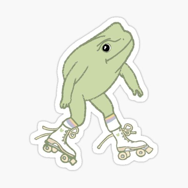 Frog on Roller Skates Sticker