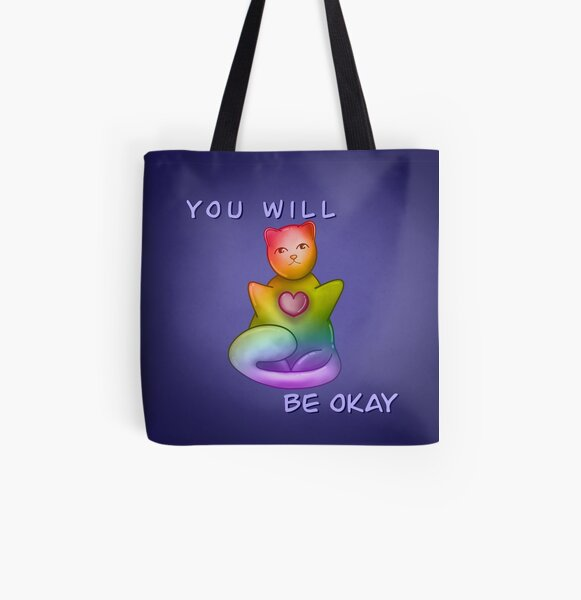 You Will Be Okay|| Bubble Cat All Over Print Tote Bag