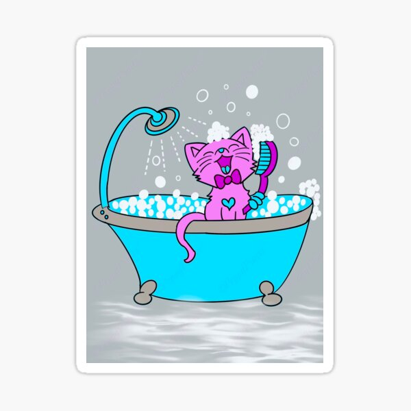 Cat In Bathroom Stickers Redbubble