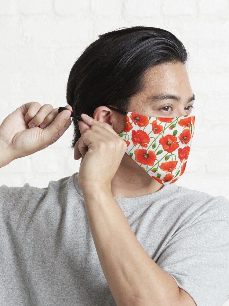 Alternate view of Beautiful Red Poppy Flowers Mask