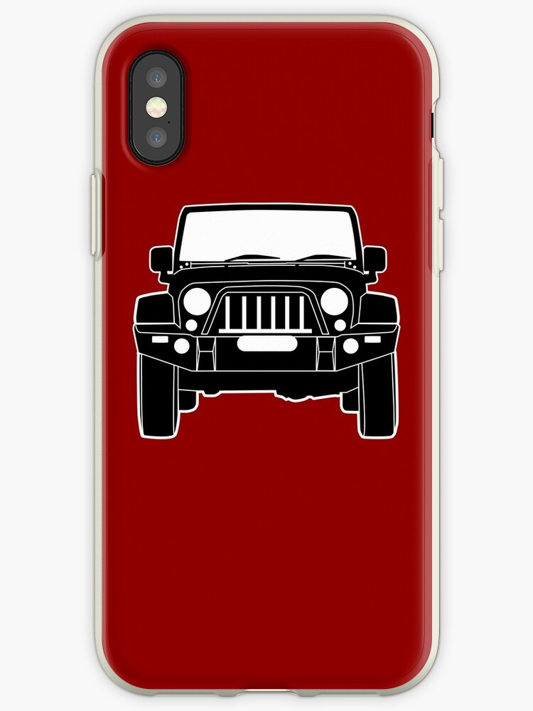 hot sale online 407df f734d ''Full Front Steel Bull Bar' Sticker / Decal Design for Jeep Wrangler Fans  - Black Outline' iPhone Case by TheStickerLab