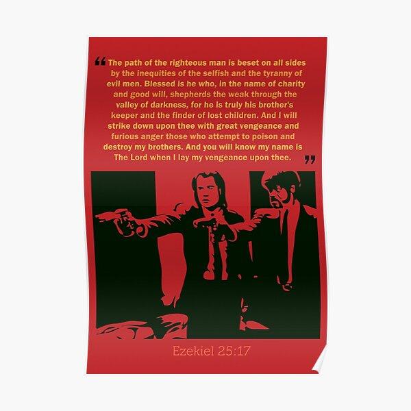 Quentin Tarantino Pulp Fiction Ezekiel 25:17 Quote 24 x 36 inch Movie Poster