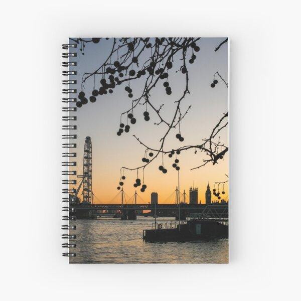 River Thames London Winter Sunset Spiral Notebook