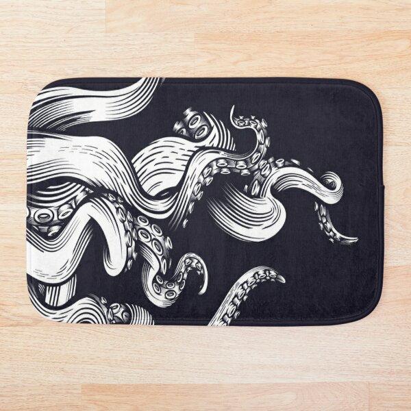 Octopus Black and White Arts Bath Mat