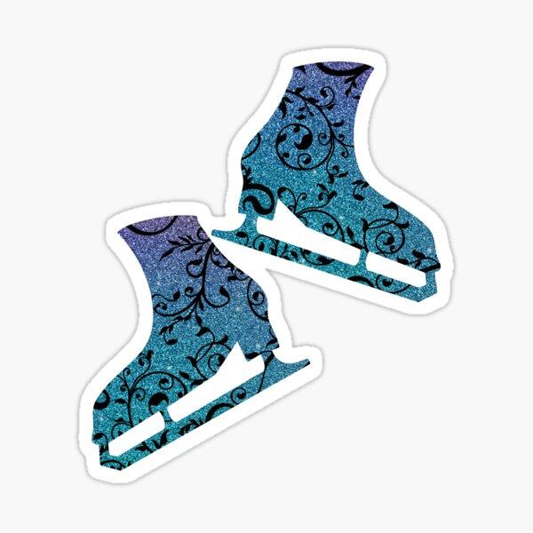 Pair of ice skates figure skating - Flourish sparkle blue purple Sticker