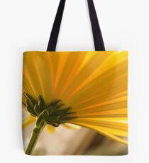 yellow chrysanthemum on a long stem with green leaves Tote Bag