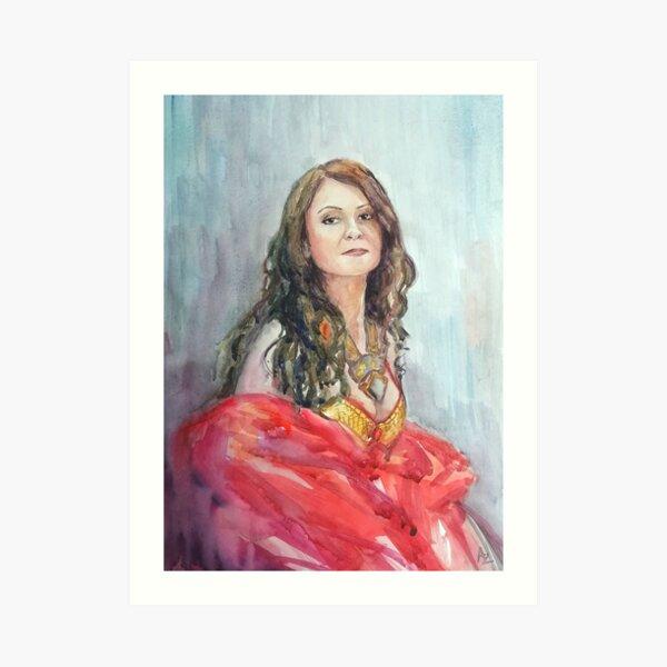 Watercolour portrait of an Eastern Dancer Art Print