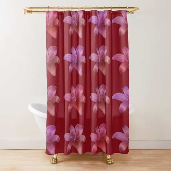 Elegant Lilies On Red Shower Curtain