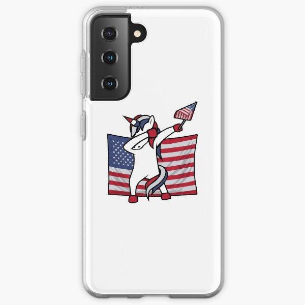 Dab For Freedom Unicorn American Flag Samsung Galaxy Soft Case