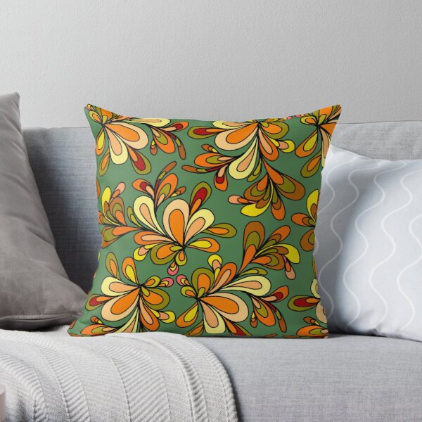 Floral orange and green design Throw Pillow