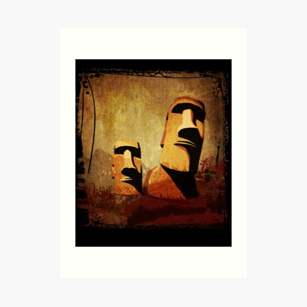 Easter Island Moai Heads Art Print