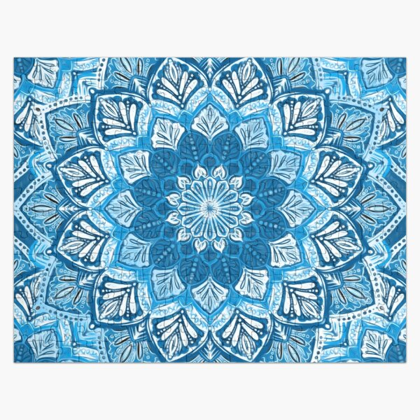 Boho Mandala in Monochrome Blue and White Jigsaw Puzzle