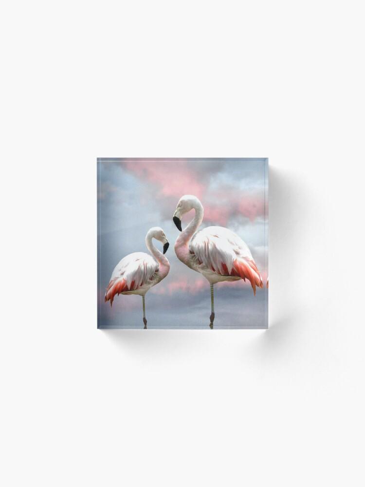 Alternate view of Flamingo Sky sunset birds Acrylic Block
