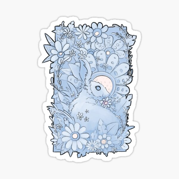 Wonderland Rabbit Midnight Blue Pencil Illustration Print    Sticker