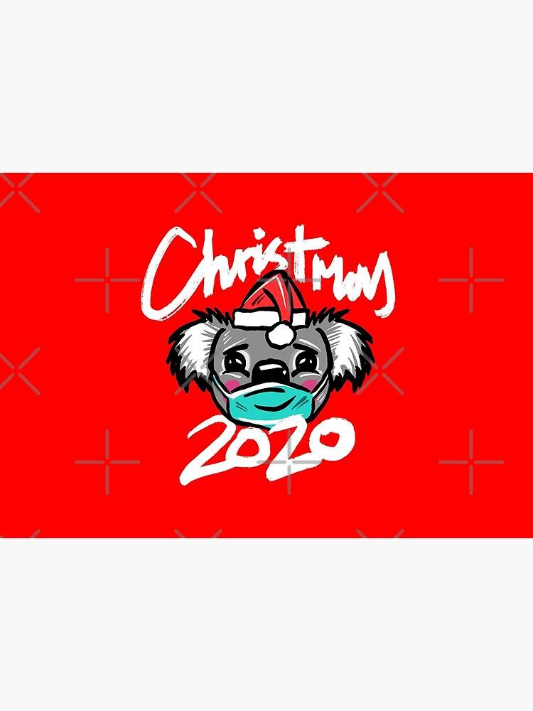 Australian Christmas 2020 T-Shirt, Christmas Koala Tee with Aussie Koala wearing a Face Mask and Christmas Hat, Funny Christmas Shirt for Aussies by sketchNkustom