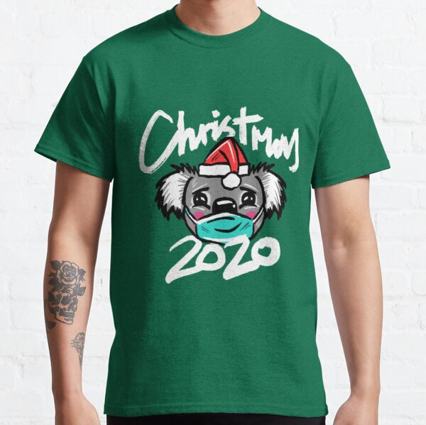 Australian Christmas 2020 T-Shirt, Christmas Koala Tee with Aussie Koala wearing a Face Mask and Christmas Hat, Funny Christmas Shirt for Aussies Classic T-Shirt