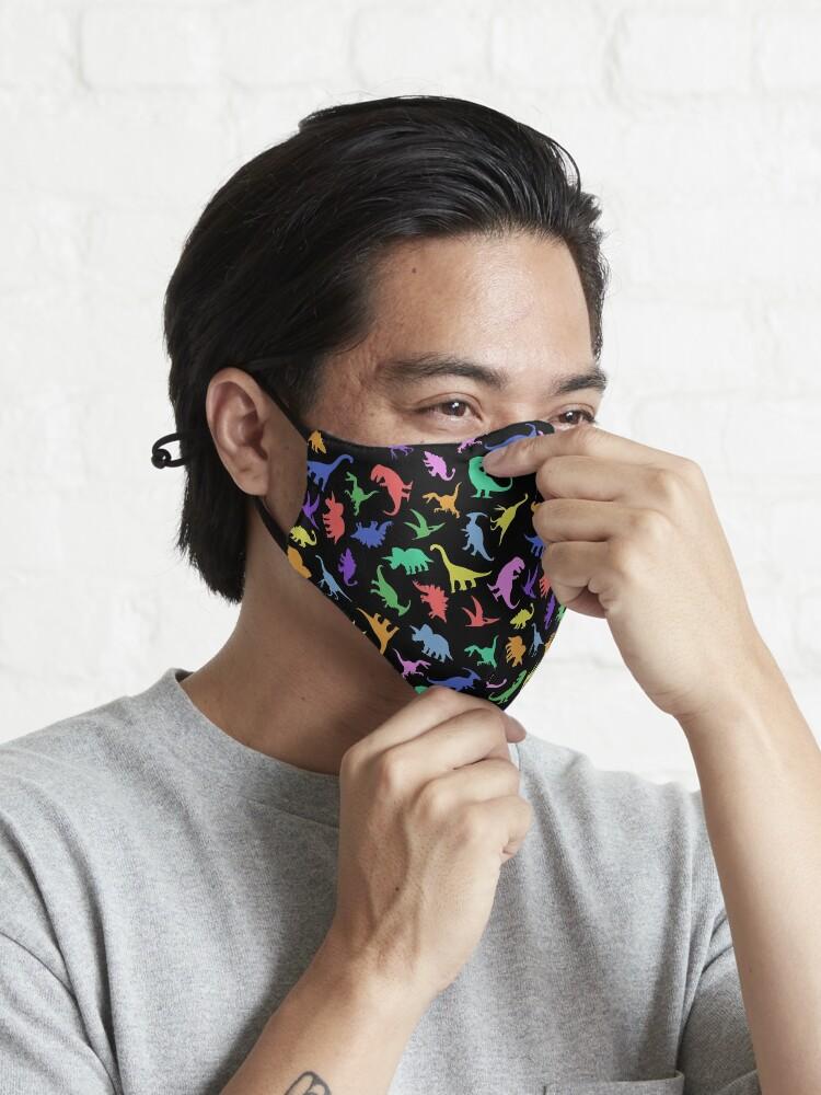 Alternate view of Fun Dinosaur Pattern (Black Background) Mask
