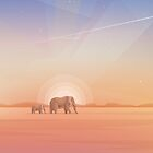 Elephants journey through desert landscapes of Africa by Diana Hlevnjak