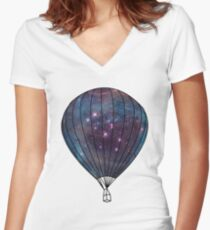 Galaxy Balloon Women's Fitted V-Neck T-Shirt