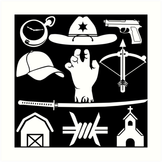 The Walking Dead Symbols Art Prints By Engyles Redbubble