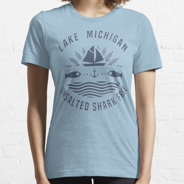 Womens Lake Michigan Unsalted Shark Free Great Lakes V-Neck Essential T-Shirt