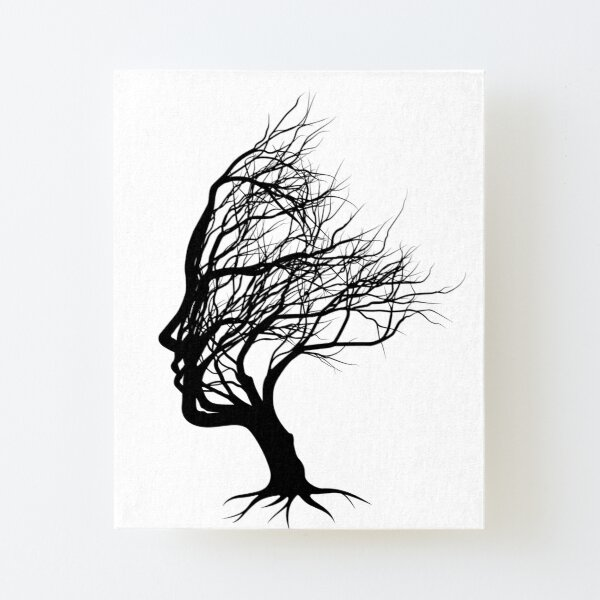 woman's face captured in a tree Canvas Mounted Print