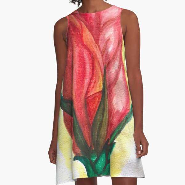 Take Time & Paint The Roses A-Line Dress