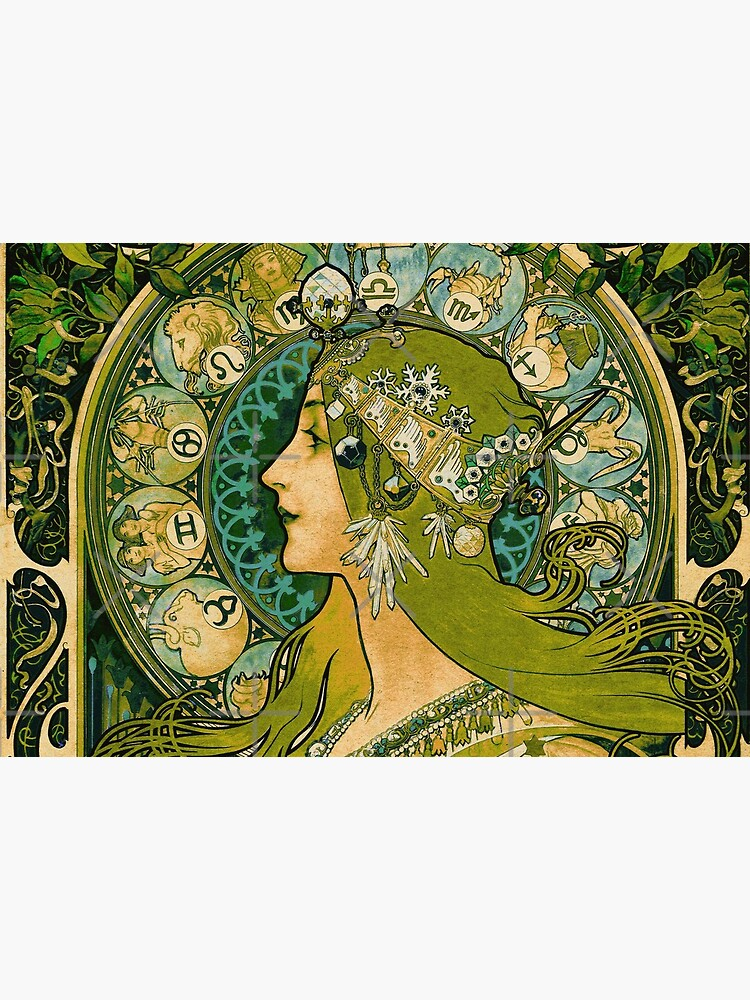 Emerald Green Vintage Astrology Poster | Alphonse Mucha  by wildtribe