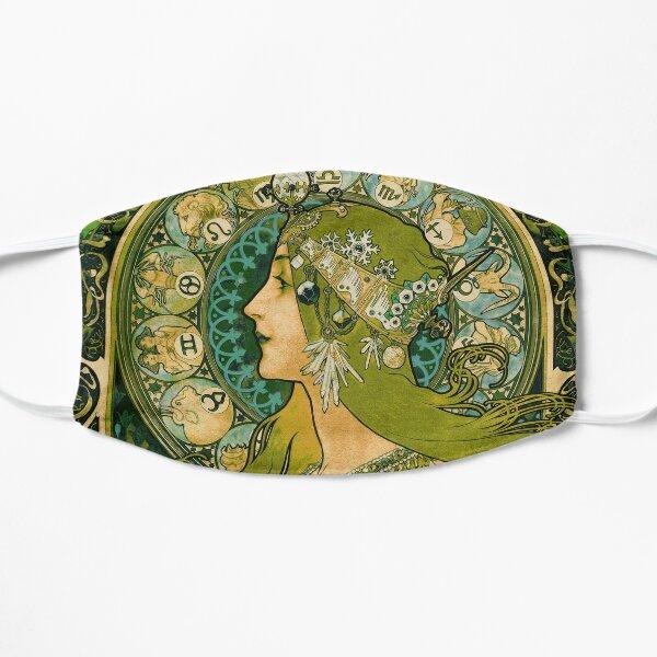 Emerald Green Vintage Astrology Poster | Alphonse Mucha  Flat Mask