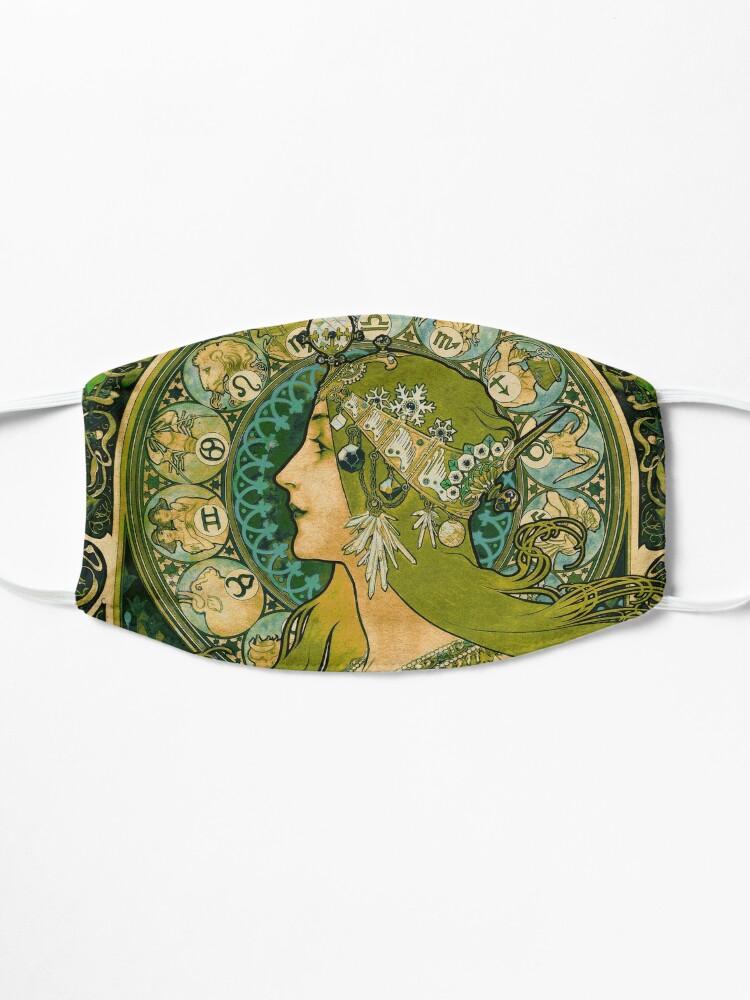 Alternate view of Emerald Green Vintage Astrology Poster | Alphonse Mucha  Mask