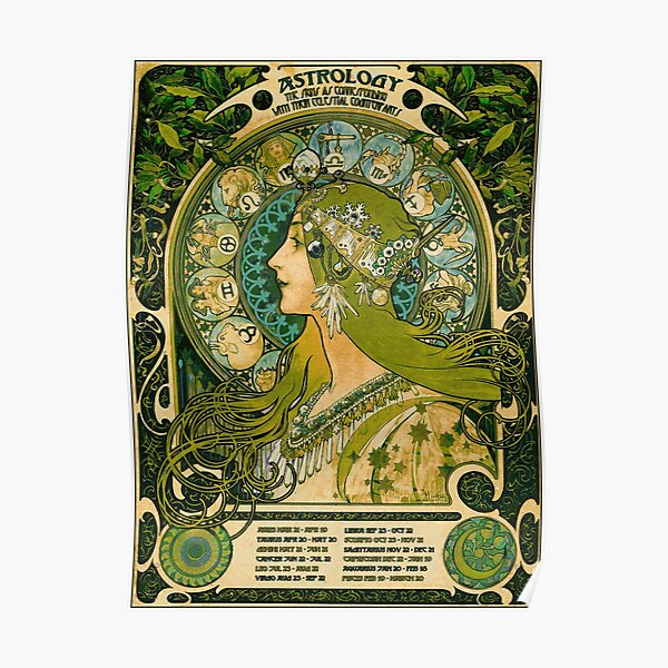 Emerald Green Vintage Astrology Poster | Alphonse Mucha  Poster