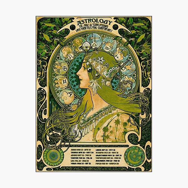 Emerald Green Vintage Astrology Poster | Alphonse Mucha  Photographic Print