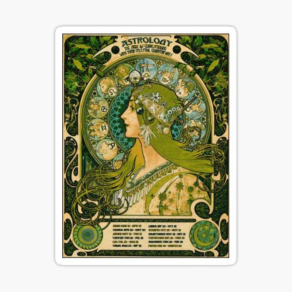 Emerald Green Vintage Astrology Poster | Alphonse Mucha  Sticker