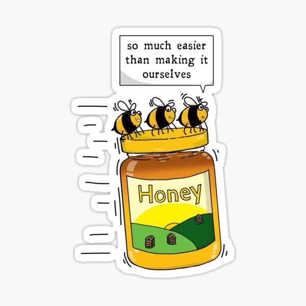 Honey Bees with Honey Jar Sticker