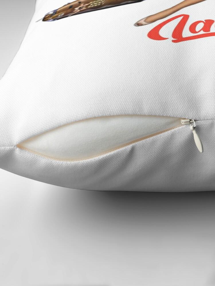 Alternate view of Lady Luck Pin Up Rockabilly design Throw Pillow