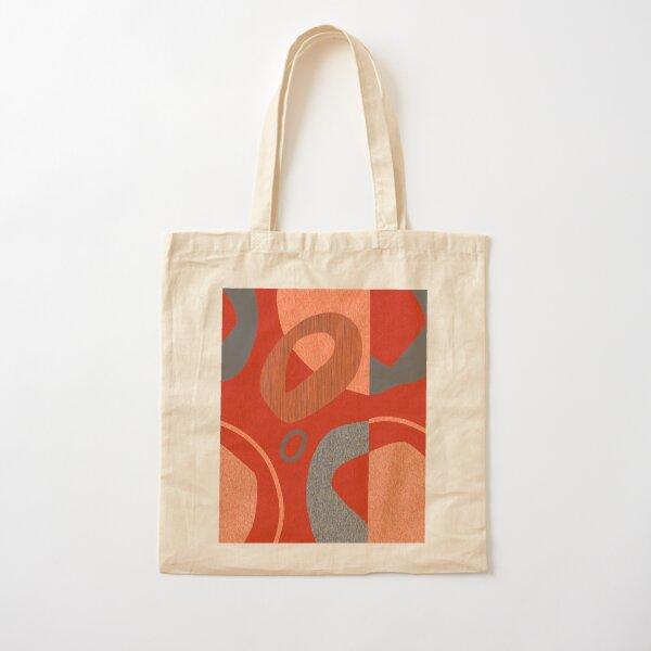 Red Orange Retro Style Abstract Art Cotton Tote Bag