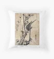 Bush Warbler On A Plum Branch - Hiroshige Ando - c1835 - woodcut Throw Pillow