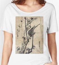 Bush Warbler On A Plum Branch - Hiroshige Ando - c1835 - woodcut Women's Relaxed Fit T-Shirt