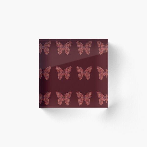 Paisley Design in Autumn Tones Acrylic Block