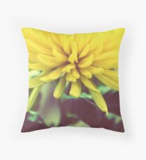 yellow chrysanthemum on a long stem with green leaves Throw Pillow