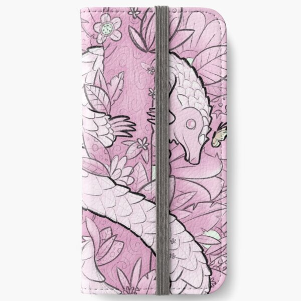 Long Tailed Pangolin Fantasy Illustration - Rosy Pink iPhone Wallet
