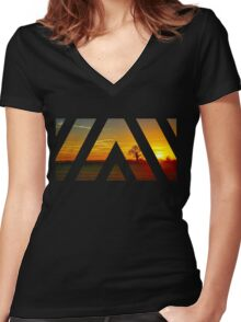 Under a Sunset Sky Women's Fitted V-Neck T-Shirt
