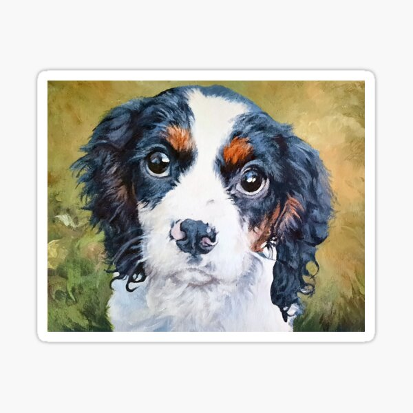 Beautiful acrylic painting of a Cavalier King Charles Spaniel Sticker