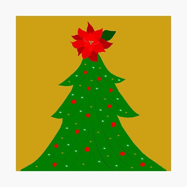 Twinkle Christmas Tree with Poinsettia Star Photographic Print