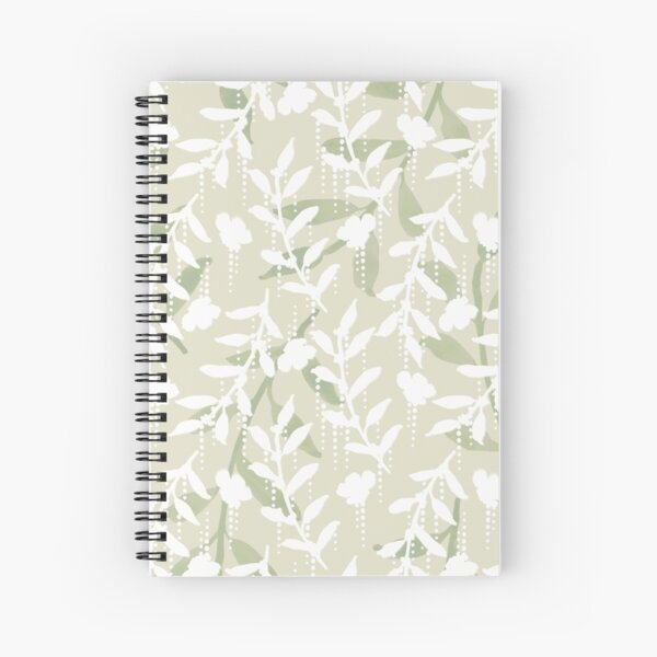 Green and White Watercolor Leaves and Flowers on Cream  Spiral Notebook