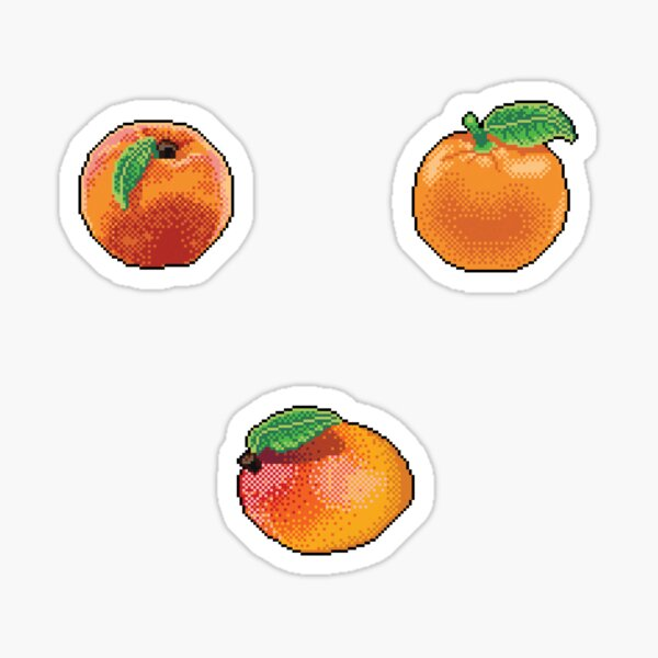 Pixel Orange fruits sticker set Sticker