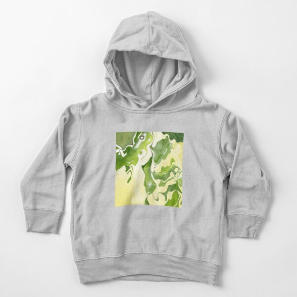 Acrylic Abstract Green Leaves Toddler Pullover Hoodie